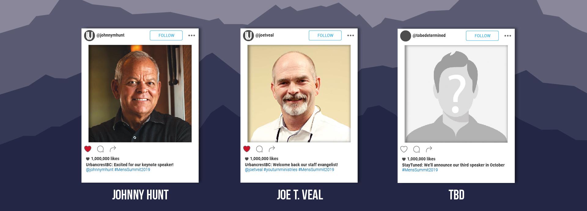 Men's Summit 2019 Speakers: Johnny Hunt, Speaker 2, Speaker 3